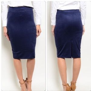 Navy sueded pencil skirt